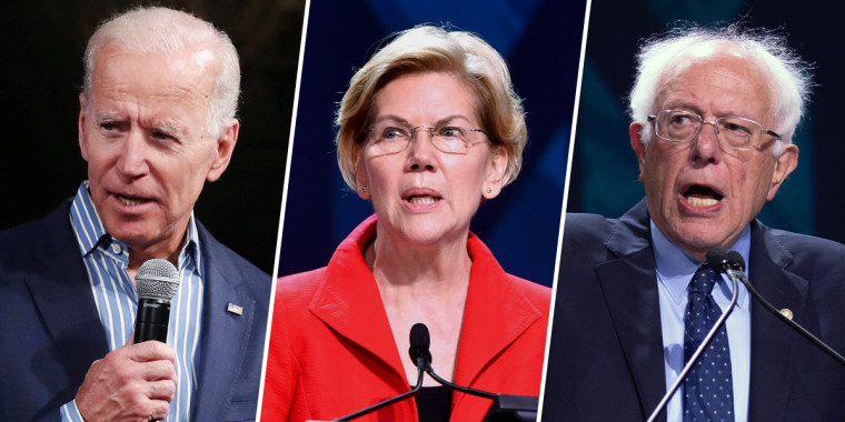 Former Vice President Joe Biden, Sen. Elizabeth Warren and Sen. Bernie Sanders