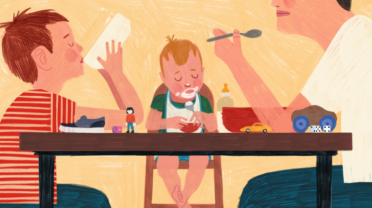Illustration of father sitting at table with two children, eating breakfast.