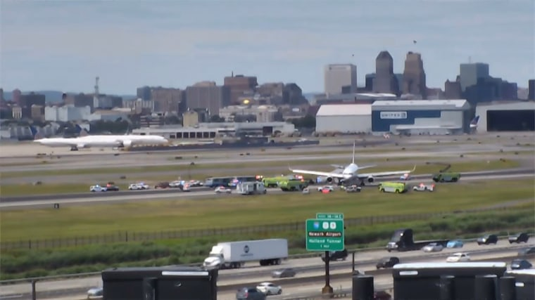 Image: Plane skids off runway at Newark