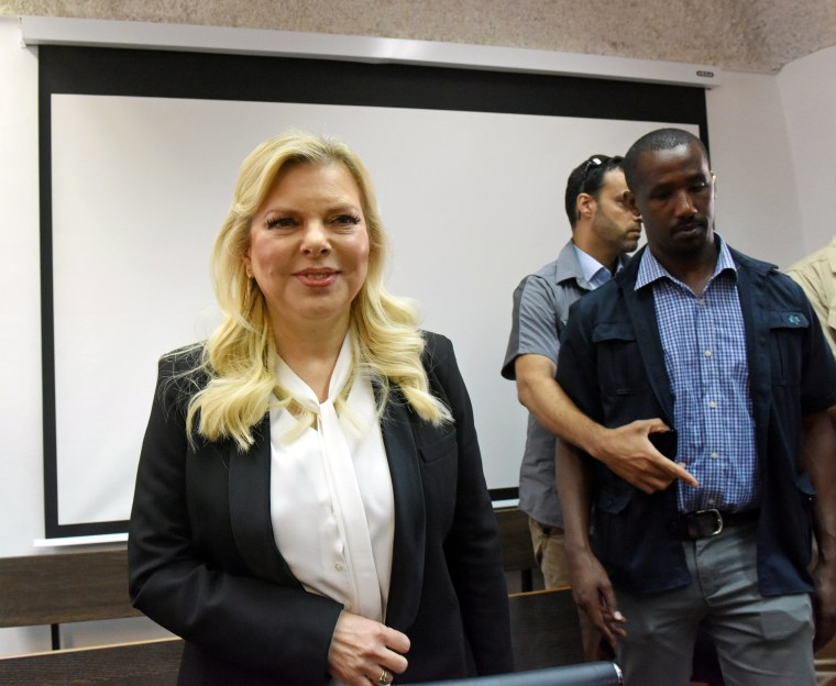 Image: Israeli Prime Minister Benjamin Netanyahu's wife, Sara, arrives in to the Magistrate Court, for a hearing on a plea deal over the misuse of state funds for meals, in Jerusalem