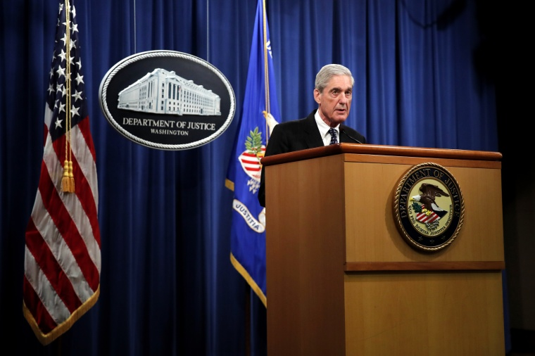 Image: Special Counsel Robert Mueller speaks at the Department of Justice on May 29, 2019.