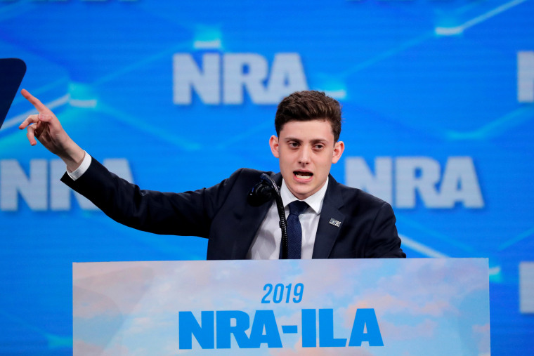 Image: Kyle Kashuv addresses the National Rifle Association annual meeting in Indianapolis on April 26, 2019.