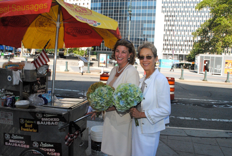 Sally Susman, left, and Robin Canter, right on their wedding day on August 12, 2011.