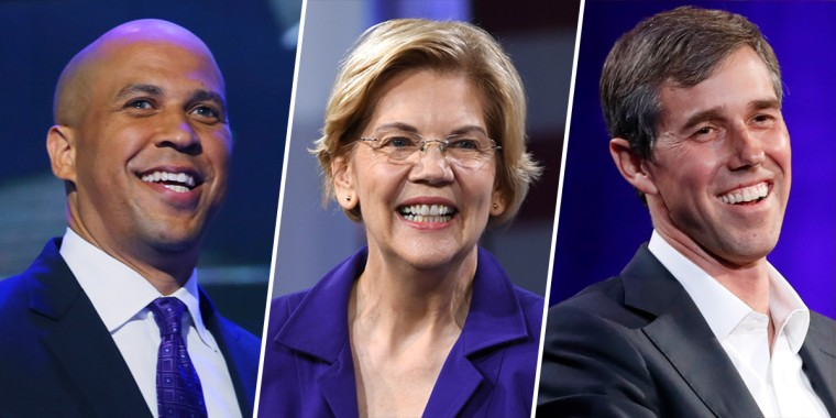 Cory Booker, Elizabeth Warren and Beto O'Rourke