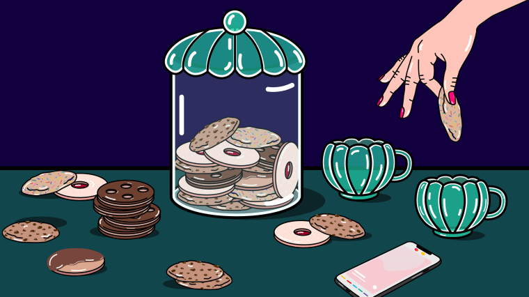 Illustration of cookie jar and a woman dipping a cookie in a cup of tea, a phone with Tinder is on the tabletop.