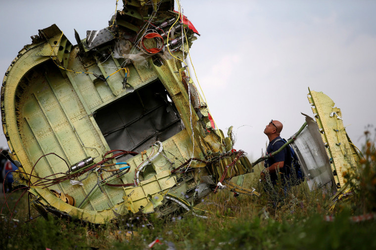 Image: A Malaysian air crash investigator inspects the crash site of Malaysia Airlines Flight MH17, near the village of Hrabove in Donetsk region, Ukraine