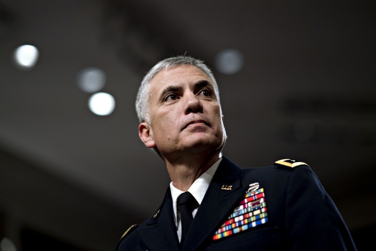 Image: Paul Nakasone arrives his confirmation hearing before the Senate Armed Services Committee on March 1, 2018.