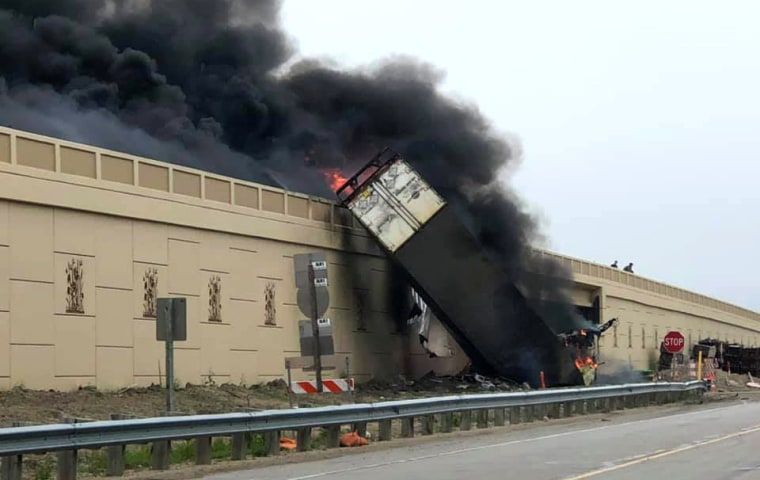 At least two people killed, semitruck flipped over in fiery Wisconsin wreck