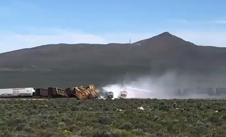Train carrying bombs, hazardous material derails in Nevada