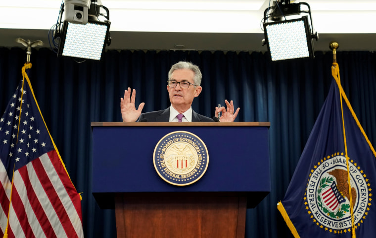 Image: Federal Reserve Chairman Jerome Powell holds a news conference following a two-day Federal Open Market Committee meeting in Washington
