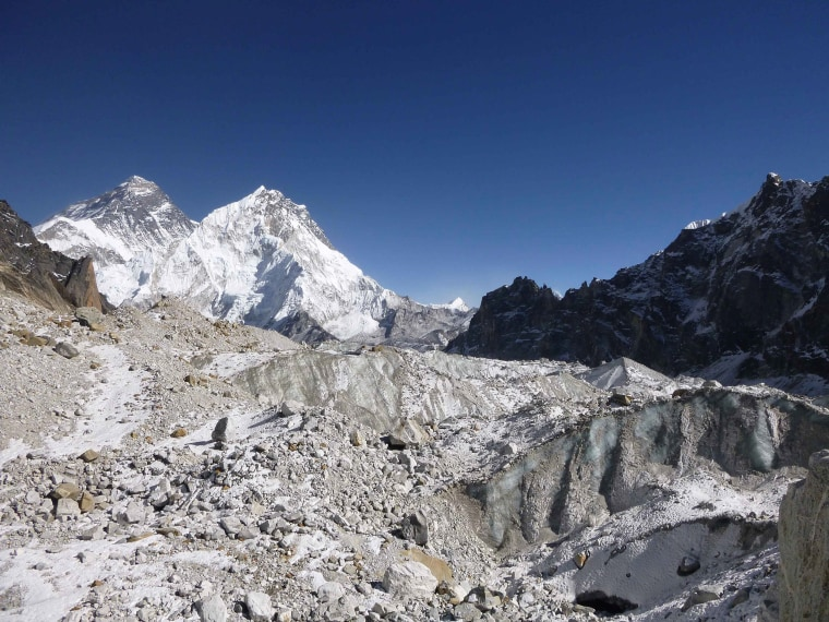 Image: The Changri Nup Glacier in Nepal, much of it covered by rocky debris
