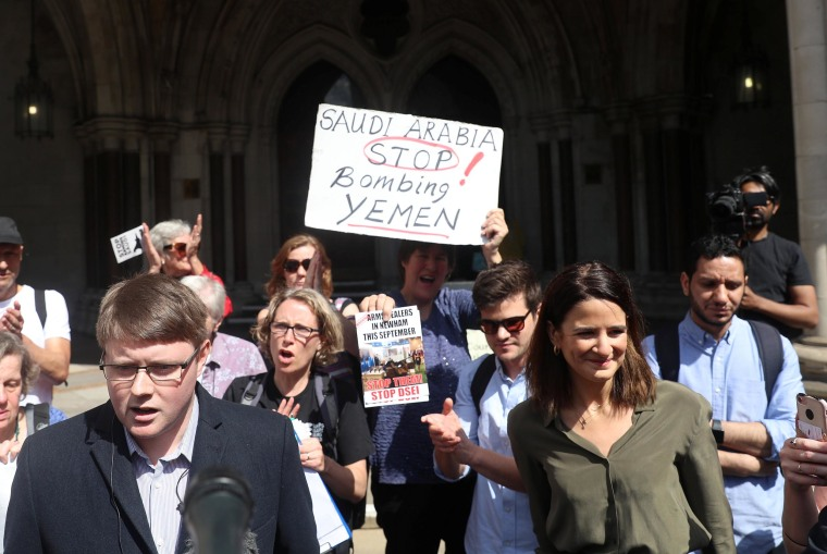 Image: Campaign Against Arms Trade (CAAT) spokesman Andrew Smith talks to the media outside the Court of Appeal regarding the judgment of a legal battle by campaigners to challenge the UK government's decision to grant licences for the export of arms to S
