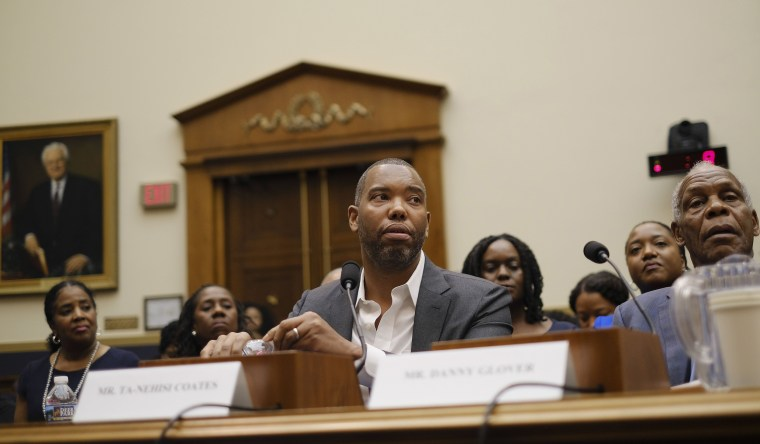 Image: The author Ta-Nehisi Coates testifies at a hearing regarding reparations held by the  House Judiciary Subcommittee on the Constitution, Civil Rights, and Civil Liberties.