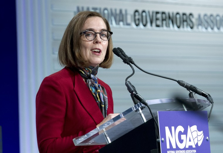 Oregon Gov. Kate Brown speaks at the National Governor Association 2019 winter meeting in Washington on Feb. 23, 2019.