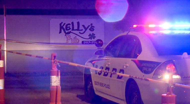 Image: At least one person is dead and as many as ten injured in an overnight shooting at Kelly's Pub in South Bend, Indiana, on June 23, 2019.