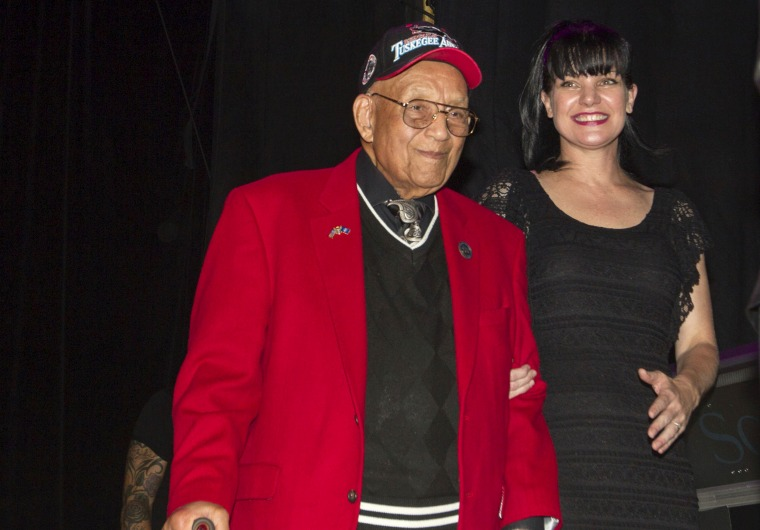 Image: Lt. Col. Bob Friend, a Tuskegee Airman, onstage at a benefit concert in Los Angeles in 2013.