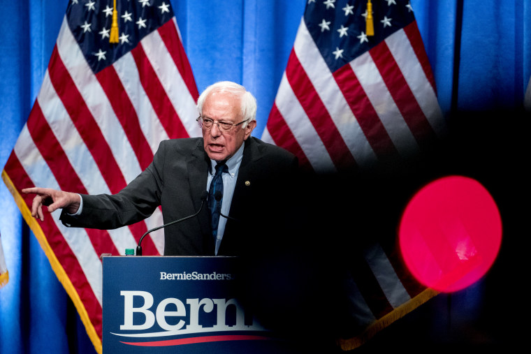Image: Sen. Bernie Sanders, I-VT, speaks at George Washington University on June 12, 2019.