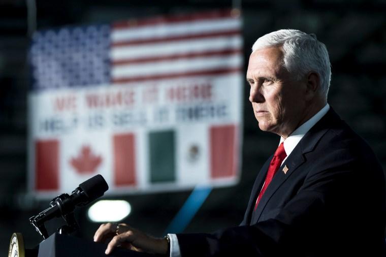 Image: Vice President Mike Pence speaks in York, Pennsylvania, on June 6, 2019.