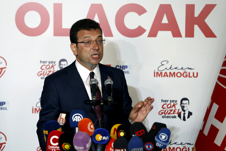 Image: Ekrem Imamoglu speaks to the media at CHP offices in Istanbul on June 23, 2019.