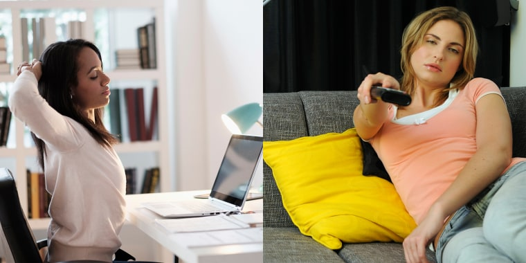 Sitting while watching TV is worse for your health than sitting at work, a new study finds.