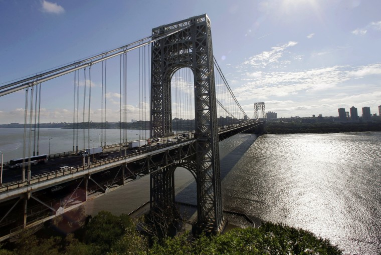 The George Washington Bridge spans the Hudson River between Fort Lee, New Jersey and New York.