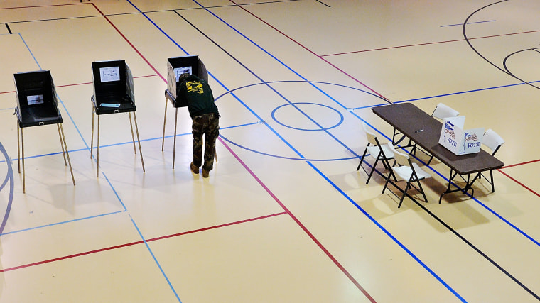 Image: A man votes in Durham, North Carolina