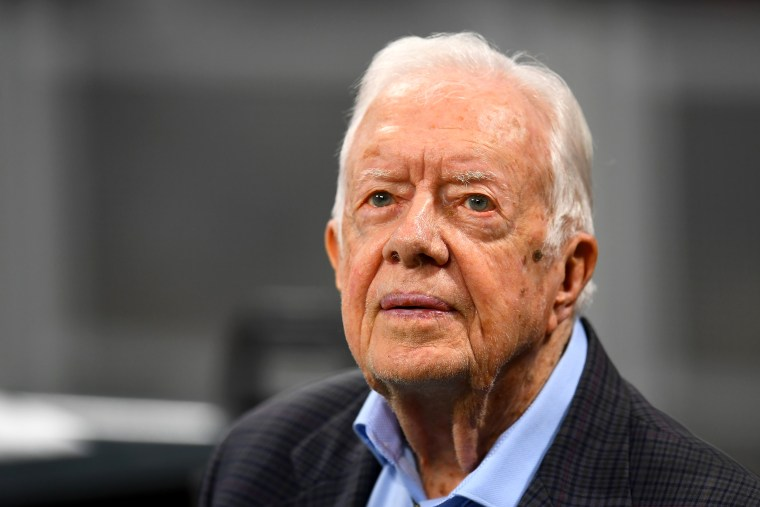IMage: Jimmy Carter attends a football game in Atlanta on Sept. 30, 2018.