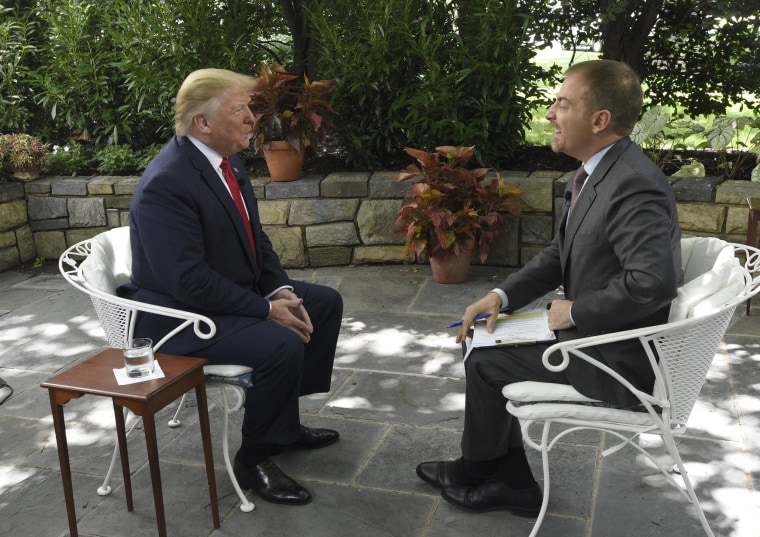 "Image: President Donald Trump speaks to Chuck Todd on ""Meet The Press."""