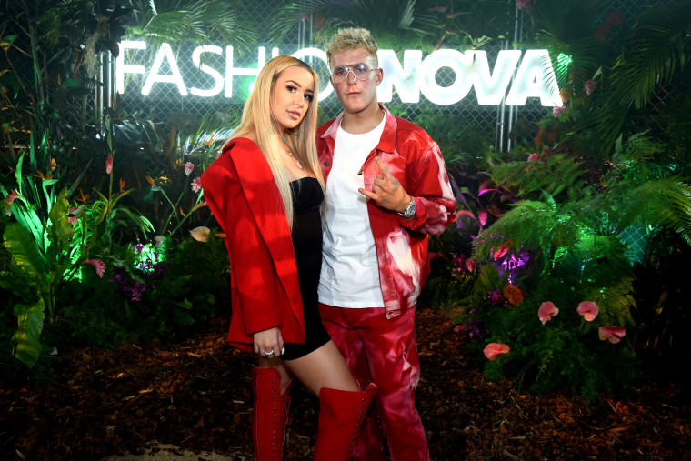 Image: Tana Mongeau and Jake Paul at a Fashion Nova event in Los Angeles, California, on May 8, 2019.