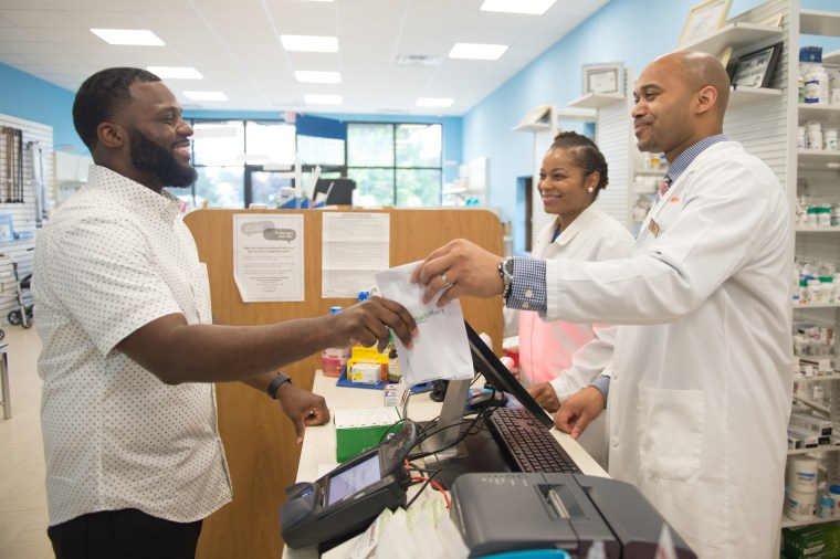 Bernard Macon picks up his prescription on June 6, 2019, at LV Health and Wellness Pharmacy in Shiloh, Illinois.