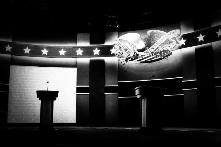 Image: Empty lecterns before the start of the first debate of the 2016 Presidential Election at Hofstra University in New York on Sept. 26, 2016.