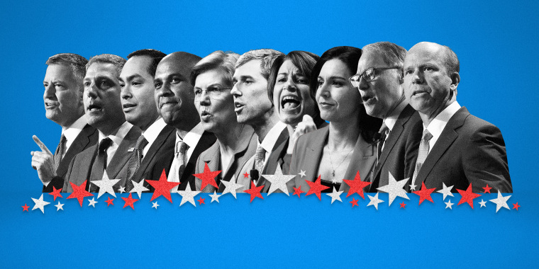 Image: The first Democratic debate -- a two-night event -- is hosted by NBC News, MSNBC and Telemundo and will air live across all three networks starting at 9 p.m. ET.