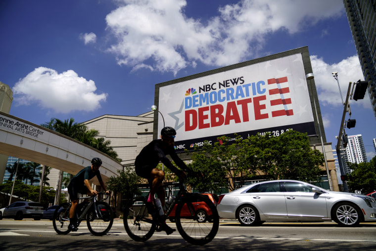 Image: The first Democratic presidential debate is hosted by NBC News, MSNBC and Telemundo, and will be held at the Adrienne Arsht Center in Miami, Florida.