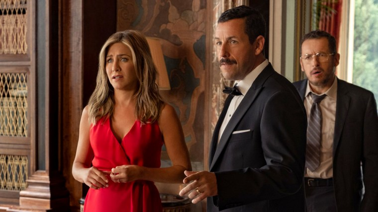 "Image: Jennifer Aniston and Adam Sandler star in Netflix's ""Murder Mystery."""