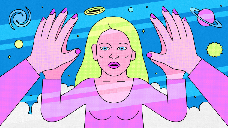 Illustration of woman holding hands up to a mirrorverse where her reflection is shining back at her.