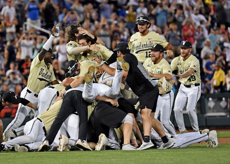 Image: Vanderbilt players and coaches celebrates after defeating the Michigan to win the National Championship at the College World Series in Omaha, Nebraska, on June 26, 2019.