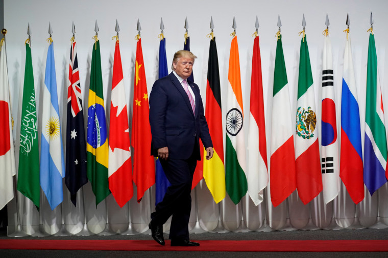 Image: President Donald Trump arrives at the G20 leaders summit in Osaka, Japan