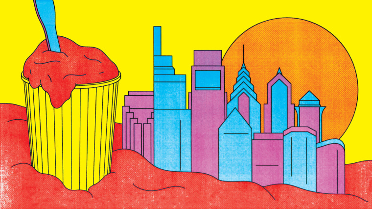 Illustration of water ice against a backdrop of the Philadelphia skyline.