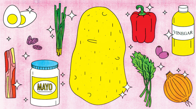 Illustration of ingredients to make different kinds of potato salad.