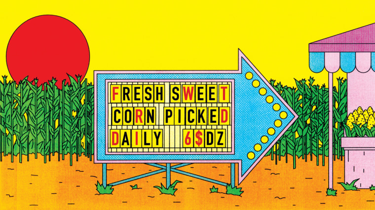 Illustration of a sign for fresh picked corn.