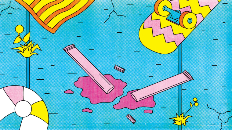 Illustration of ice pops open and melting on a summery sidewalk.