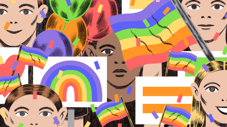 Illustration of black person standing in a sea of white people and pride flags and signs.