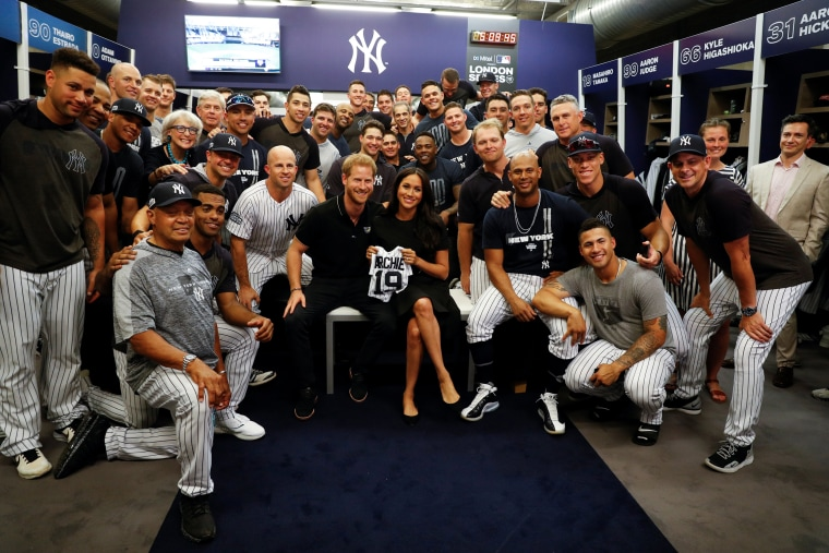 Meghan Markle and Prince Harry meet Yankees and Red Sox players at