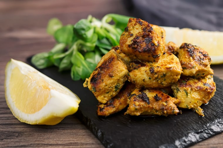 These Indian Chicken Tikka Bites use a marinade of yogurt, garlic, ginger and spices to tenderize and flavor the meat.