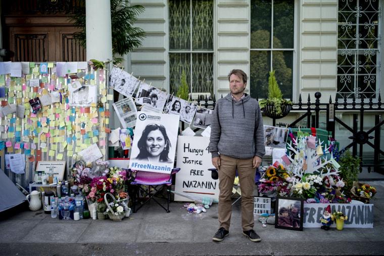 Image: Richard Ratcliffe, husband of Nazanin Zaghari-Ratcliffe, a British-Iranian woman is in prison in Iran, outside of the Iranian Embassy in London on June 28, 2019.