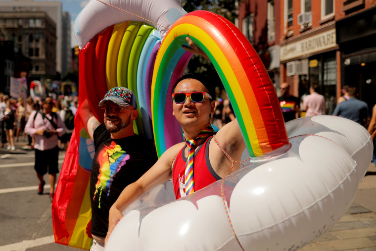Image: Activists march in the Queer Liberation March on 2019 World Pride NYC and Stonewall 50th LGBTQ Pride day in New York