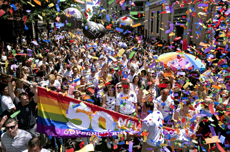 Image: New York Governor Andrew Cuomo joins the Pride March in Manhattan on June 30.