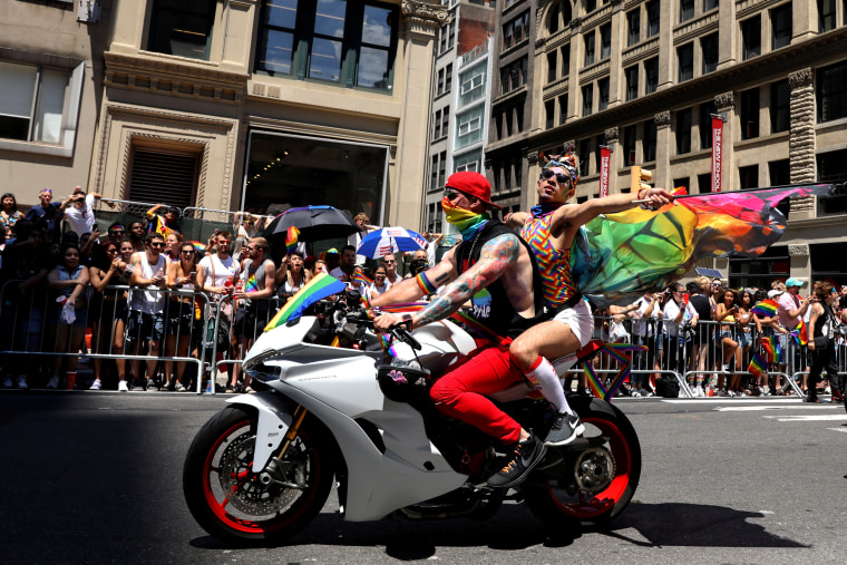 Image: Participants rev up the celebrations during New York's Pride March on June 30, 2019.