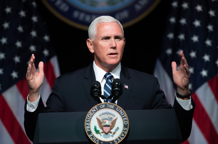 Vice President Mike Pence speaks about the creation of Space Force at the Pentagon on Aug. 9, 2018.
