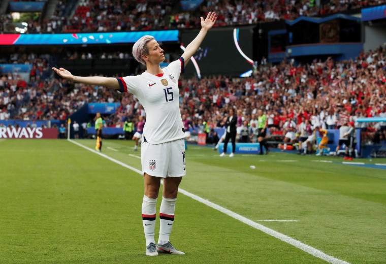 Image: Megan Rapinoe of the U.S. celebrates scoring their first goal against France.